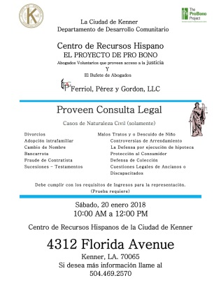 Pro Bono Flyer - January 20, 2018 - English and Spanish
