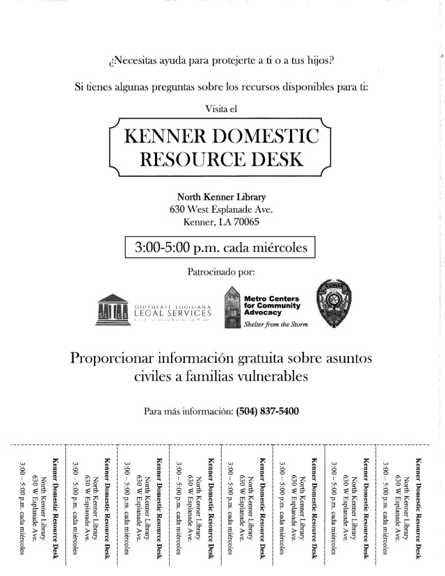 Kenner Resource Desk Tear-off flyer Spanish