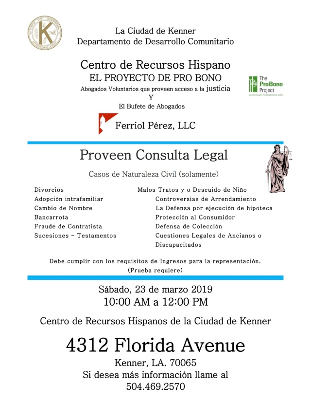 Pro Bono Flyer - March 23, 2019 - English and Spanish