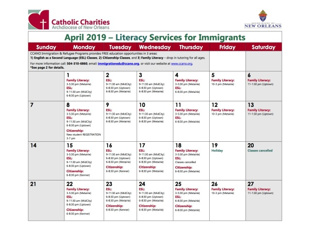 April Immigration Education Calendar Flyer