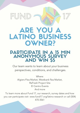 Hispanic Entrepreneurship Survey Flyer (English) April