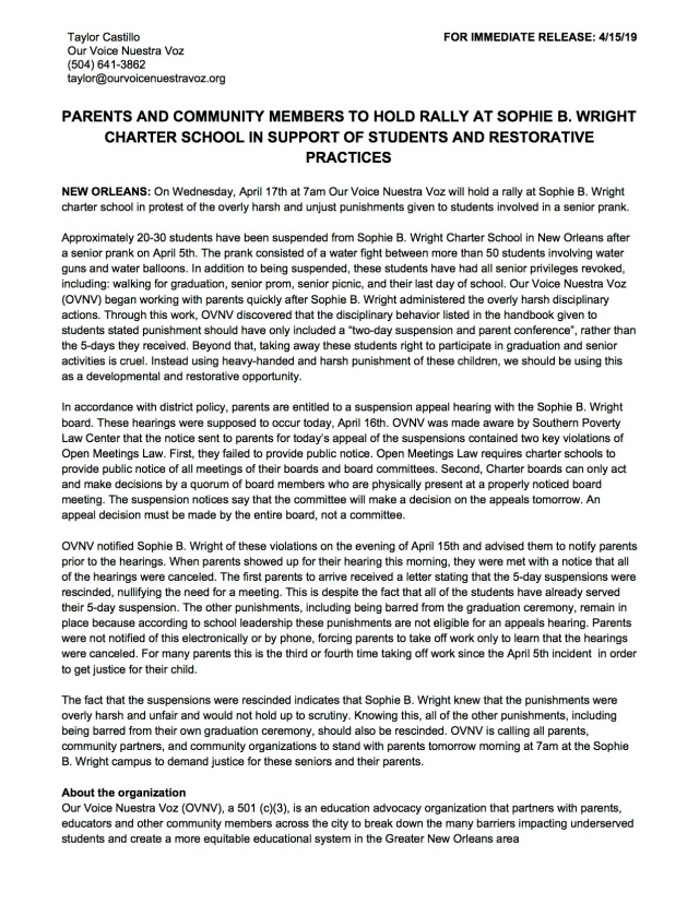 *Press Release* PARENTS AND COMMUNITY MEMBERS TO HOLD RALLY AT SOPHIE B. WRIGHT CHARTER SCHOOL IN SUPPORT OF STUDENTS AND RESTORATIVE PRACTICES