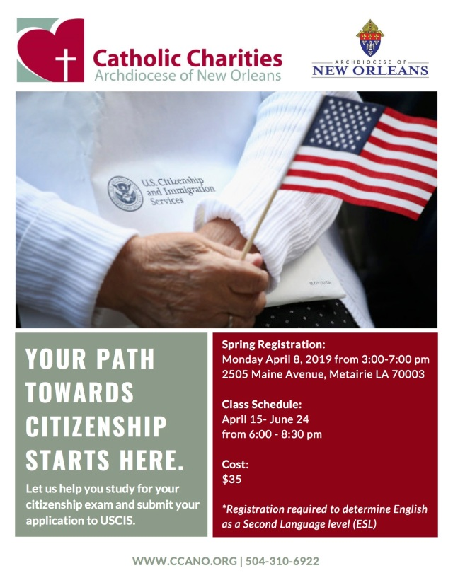Spring (April) CCANO Citizenship Flyer 2019 - English