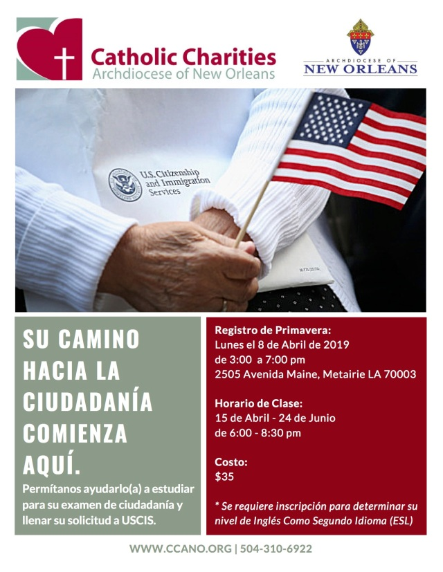 Spring (April) CCANO Citizenship Flyer 2019 - Spanish